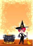 Z garnkiem śmieszna czarownica. Zdjęcia Royalty Free