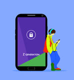 Z generation illustration. Teenage boy with a phone and headphones, standing near the big smartphone. Royalty Free Stock Photography