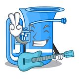 Z gitary tuba w kształt śmiesznej kreskówce royalty ilustracja