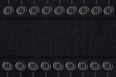 Z guzikami czarny bawełniana tekstura Zdjęcie Stock