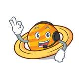 Z hełmofon planety saturnus maskotki kreskówką ilustracja wektor