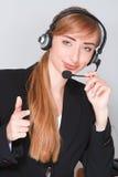 Z hełmofonami Blondynki uśmiechnięta dziewczyna Obraz Royalty Free