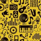 Z ikonami wektorowy muzyczny bezszwowy wzór ilustracja wektor