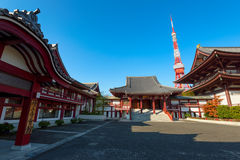 Zōjō-ji Temple and Tokyo Tower, Japan. Stock Photography