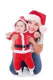 Z jej małym Santa szczęśliwa matka zdjęcia royalty free