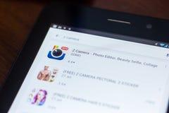 Z kamery ikona w liście mobilni apps Ryazan Rosja, Marzec - 21, 2018 - Zdjęcia Stock