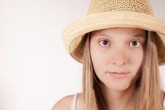 Z kapeluszem żniwo dziewczyna Obraz Stock