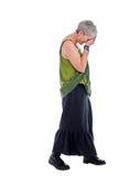 Z kierowniczym puszkiem kobieta smutni starzy stojaki Obraz Royalty Free