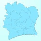 Z kości słoniowej wybrzeża błękitna mapa na spodlonym tle Zdjęcia Stock