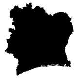 Z kości słoniowej wybrzeża mapa na białym tle Fotografia Stock