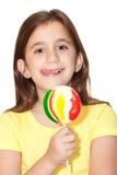 Z kolorowym lollipo piękna łacińska dziewczyna Obrazy Stock