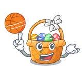 Z koszykówki Easter koszykową piłką w kreskówka kształcie ilustracja wektor