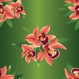 Z kwiat orchideami bezszwowy wzór Obrazy Royalty Free