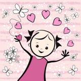 Z kwiatami śliczna młoda dziewczyna tła czerń zakończenia projekta jajko smażył niecki koszula t Fotografia Royalty Free