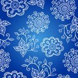 Z kwiatami błękitny rozochocony wzór Zdjęcie Royalty Free