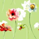 Z kwiatami bezszwowa tapeta Zdjęcie Stock