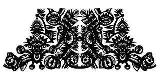 Z kwiatami czarny dekoracyjny wzór Zdjęcie Stock