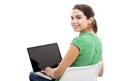 Z laptopem żeński uczeń obrazy stock