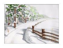 Z lasem zima krajobraz Zdjęcie Stock