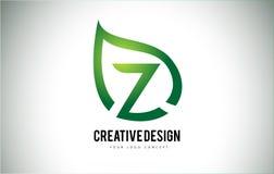 Z Leaf Logo Letter Design with Green Leaf Outline Stock Image