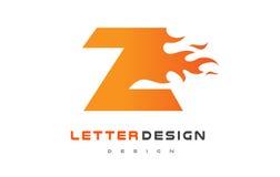Z Letter Flame Logo Design. Fire Logo Lettering Concept. Royalty Free Stock Images