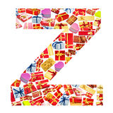 Z Letter  made of giftboxes Royalty Free Stock Image