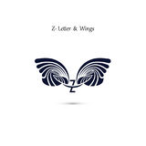 Z-letter sign and angel wings.Monogram wing vector logo template Royalty Free Stock Photos