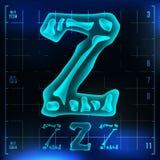 Z Letter Vector. Capital Digit. Roentgen X-ray Font Light Sign. Medical Radiology Neon Scan Effect. Alphabet. 3D Blue. Light Digit With Bone. Medical, Pirate Stock Photo