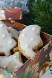 Z lodowaceniem bożenarodzeniowi piernikowi ciastka Zdjęcia Stock