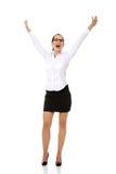 Z młody szczęśliwy bizneswoman… zdjęcia royalty free