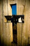 z makietą krzyżowa drewniana Zdjęcie Stock