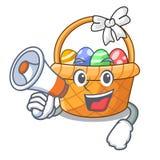Z megafonu Easter koszykową piłką w kreskówka kształcie royalty ilustracja