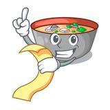 Z menu miso zupnym pucharem na stołowym charakterze ilustracja wektor