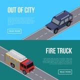 Z miasto ulotek z samochodami w drodze ilustracji