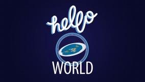 z mieszkania Cześć światowa animacja z płaskim ziemi i ręki literowaniem na błękitnym tle zbiory