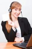 Z hełmofonami blond dziewczyna Fotografia Stock