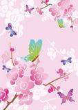 Z motylami wektorowy kwiecisty tło Zdjęcie Royalty Free