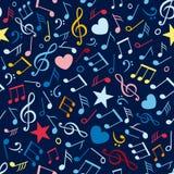 Z muzycznymi notatkami kolorowy bezszwowy wzór Obrazy Royalty Free