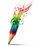 Z muzycznymi notatkami kreatywnie ołówek. Fotografia Royalty Free