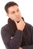 Z myślącym wyrażeniem młodego człowieka portret Zdjęcie Stock
