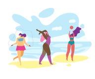 Z nadwagą dziewczyny Bawić się i Relaksuje na nadmorski ilustracja wektor
