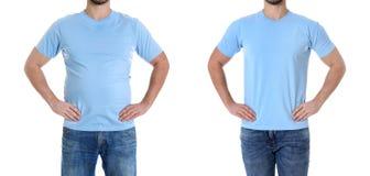 Z nadwagą mężczyzna przed i po ciężar stratą na białym tle zdjęcie royalty free