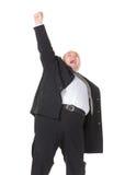 Z nadwagą rozochocony biznesmen na białym tle, Zdjęcia Stock