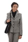 Z naramienną torbą szczęśliwy bizneswoman Fotografia Royalty Free