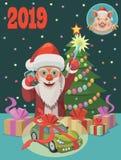 Z nowymi 2019 rok Święty Mikołaj daje teraźniejszość everyone! fotografia royalty free