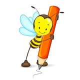 Z Ołówkiem pszczoła Rysunek ilustracja wektor