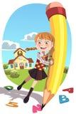 Z ołówkiem szkolna dziewczyna ilustracji
