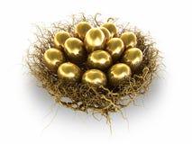 Złoci jajka Zdjęcia Stock
