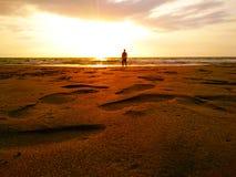 Złoci piasków odciski stopy Fotografia Stock