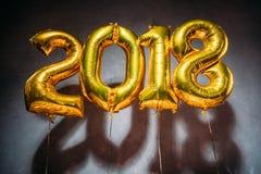 Złoci 2018 szyldowych balonów Zdjęcie Stock